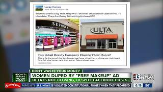 Women being duped by free makeup ad, false claims that Ulta is closing - Video