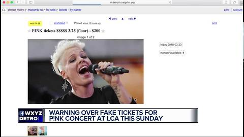 Ferndale police warn about fake tickets to P!nk's Little Caesars Arena show