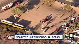17 students hurt in school bus crash in Apache Junction - Video