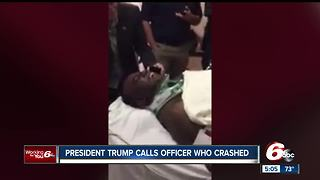 Injured Indianapolis police officer takes call from President Trump after motorcade crash - Video
