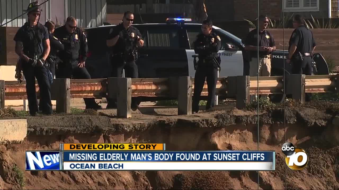 Missing elderly man's body found at Sunset Cliffs