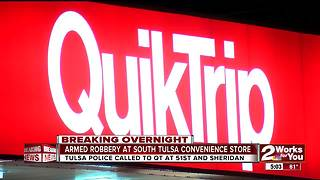 Quiktrip robbed overnight in South Tulsa - Video