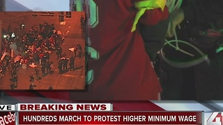 Hundreds march in Kansas City for higher minimum wage - Video