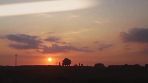 UFO appears during sunset time lapse video