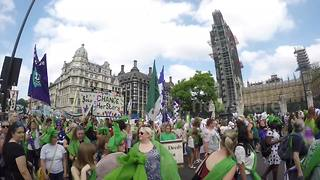 Women take part in mass participation artwork PROCESSIONS in London - Video