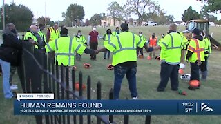 Archaeologists encounter human remains on second day of graves investigation