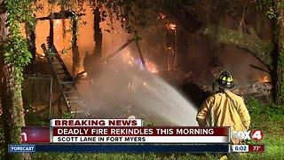 Fire rekindles at scene of deadly Fort Myers house fire - Video
