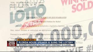 Florida House Speaker is suing the Lottery - Video