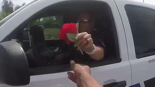 Motorcyclist gives Chandler officer a flower - Video