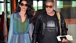 How George And Amal Clooney Fly With Their Six-Month-Old Twins - Video