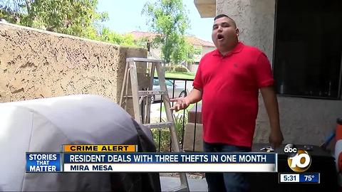 Resident deals with three thefts in one month in Mira Mesa
