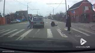 Careless driver rams pedestrian at crossing - Video