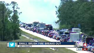 Crews battle brush fire along I-75 in Lee County - Video