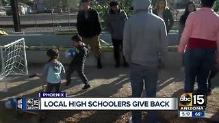 High school students build mini soccer goals for underprivileged kids - Video