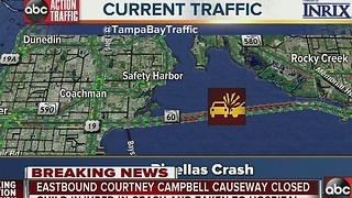 Eastbound Courtney Campbell Causeway closed due to accident, child injured - Video