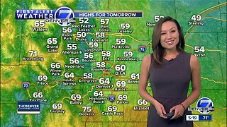 Much cooler and wetter weather in Denver Tuesday