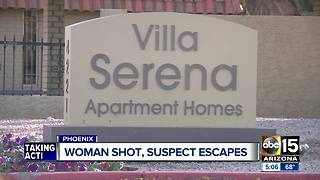 Woman shot at Phoenix apartment, suspect on the run - Video