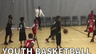 Youth Basketball Coach Rejects Own Player's Shot - Video