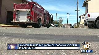 Woman burned in cooking accident - Video