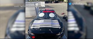 Nascar driver races blue lives matter themed car