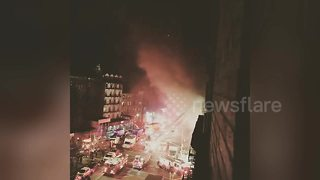 Eyewitness captures video of massive fire on Harlem movie set - Video