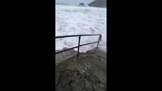 Storm Brian sends huge wave smashing into Cornwall - Video