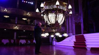 Strictly Come Gleaming! Priceless Blackpool Tower ballroom crystal chandeliers undergo annual spring clean - Video