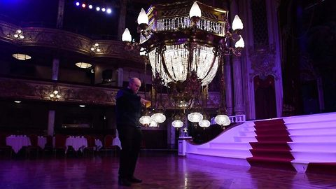 Strictly Come Gleaming! Priceless Blackpool Tower ballroom crystal chandeliers undergo annual spring clean