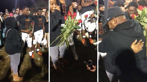 Coach 'scored' the love of his life afterproposing on pitch