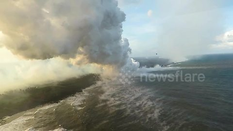 Chopper flies through corrosive seawater plumes in Hawaii