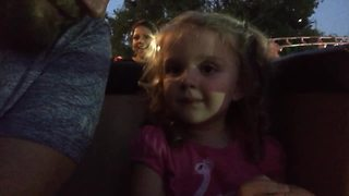 Tot Girl Loves Her First Roller Coaster Ride - Video