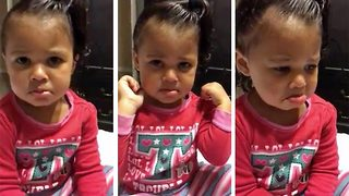 Adorable toddler convinces herself that she's lost her elbows - Video