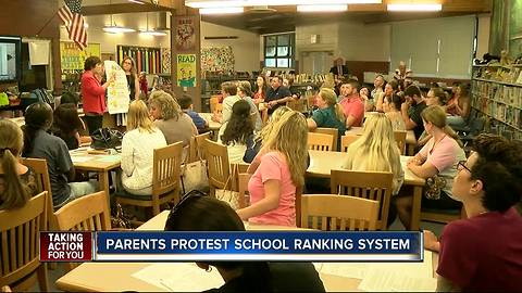 Parents protest school ranking system