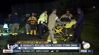 16 migrants rescued from flooded storm drain