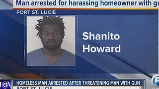 Homeless man arrested after threatening man with gun - Video
