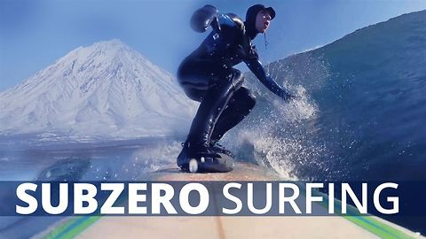 Sub zero surfing in the Siberian sea