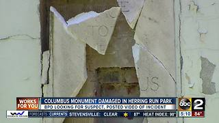 Part of Columbus statue in Baltimore damaged Monday morning - Video