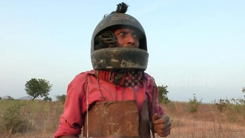 Scared Indian villager builds body armour against tiger attack