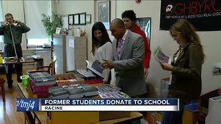 Former Racine school students donate supplies to Julian Thomas Elementary principle - Video