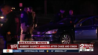 Robbery suspect arrested after chase and crash