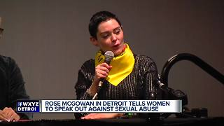 Rose McGowan in Detroit tells women to speak out against sexual abuse