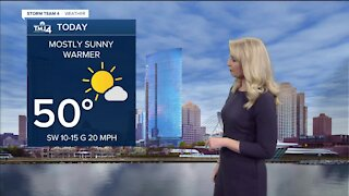 Mostly sunny, warmer Wednesday