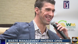 Michael Phelps is this year's featured guest at the Waste Management Phoenix Open - Video