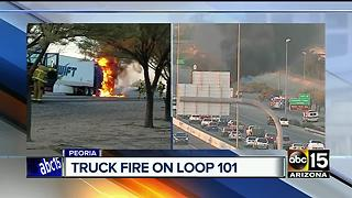 Big rig catches on fire on Loop 101 at Northern Avenue - Video