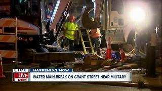 Crews working to fix water main break on Grant Street - Video