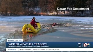 Teen dies after falling through frozen pond
