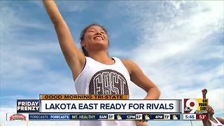 Lakota East cheerleaders prepare for game against Lakota West - Video