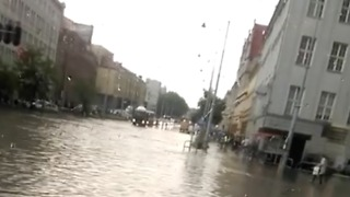 Heavy Rain, Hail and Flooding Inundate Gdansk City Center - Video