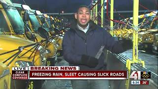 Freezing rain, sleet causing slick roads around KC - Video