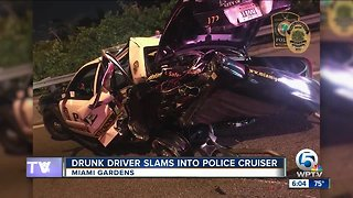 Drunk driver slams into police cruiser in Miami Gardens